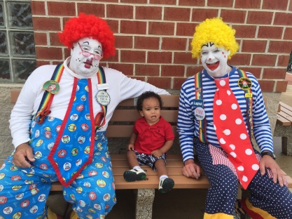 Tiger wasn't sure what to make of the clowns