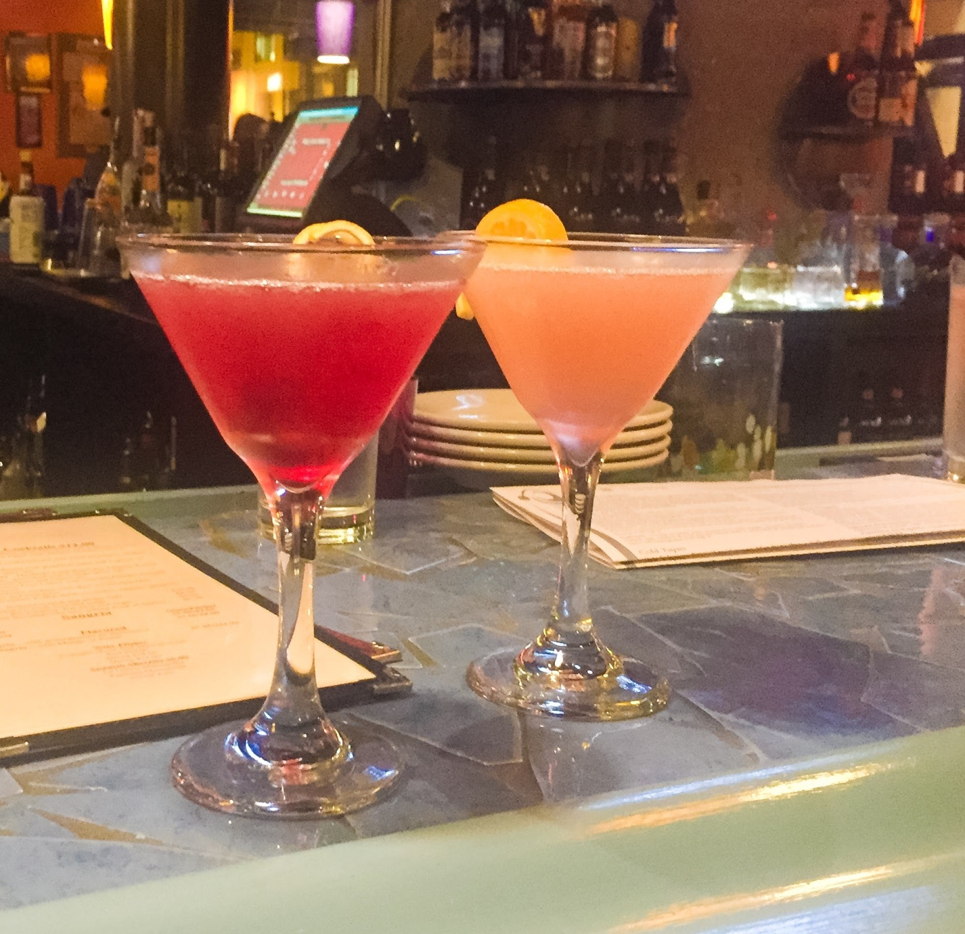 Pomegranate and passion fruit martinis at Tapas Valencia